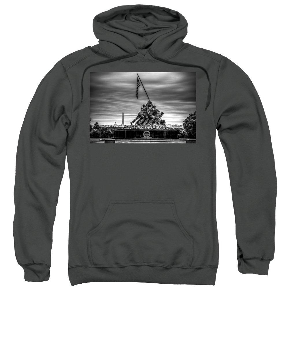 Iwo Jima Monument Sweatshirt featuring the photograph Iwo Jima Monument Black And White by David Morefield