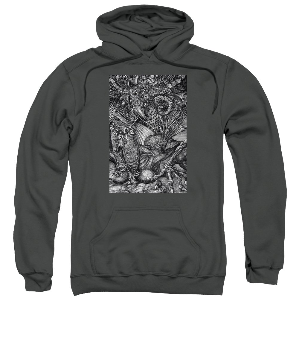 Surrealism Sweatshirt featuring the drawing Jabberwocky by Otto Rapp