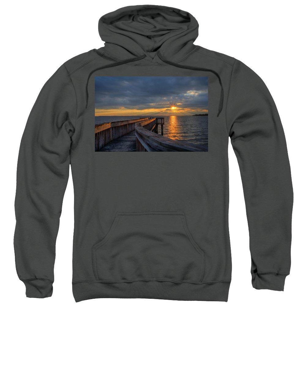 Riverview Farm Park Sweatshirt featuring the photograph James River Sunset Riverview Pier by Jerry Gammon