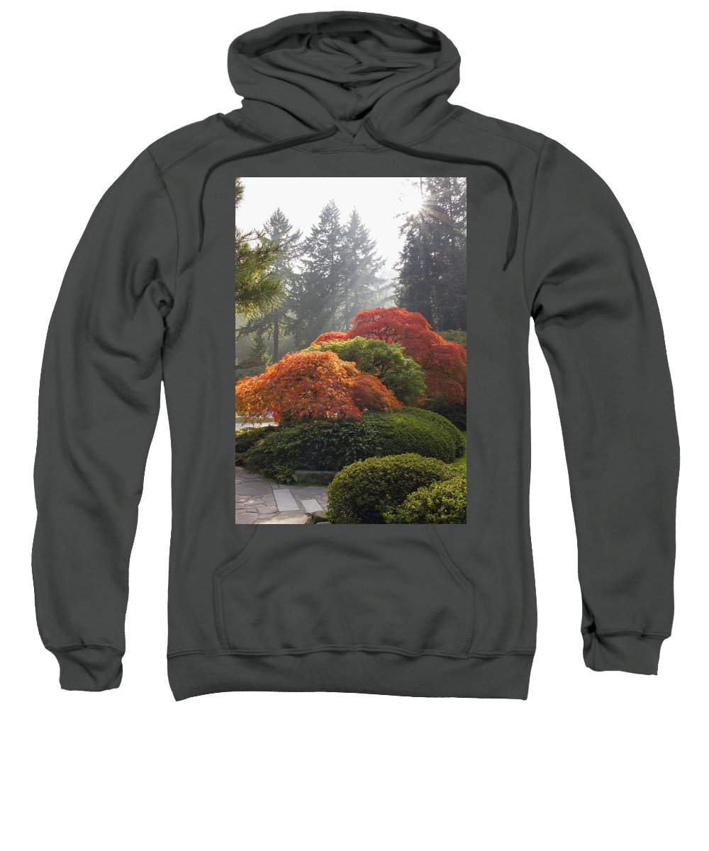 Japanese Sweatshirt featuring the photograph Japanese Garden In The Fall Season by Jit Lim
