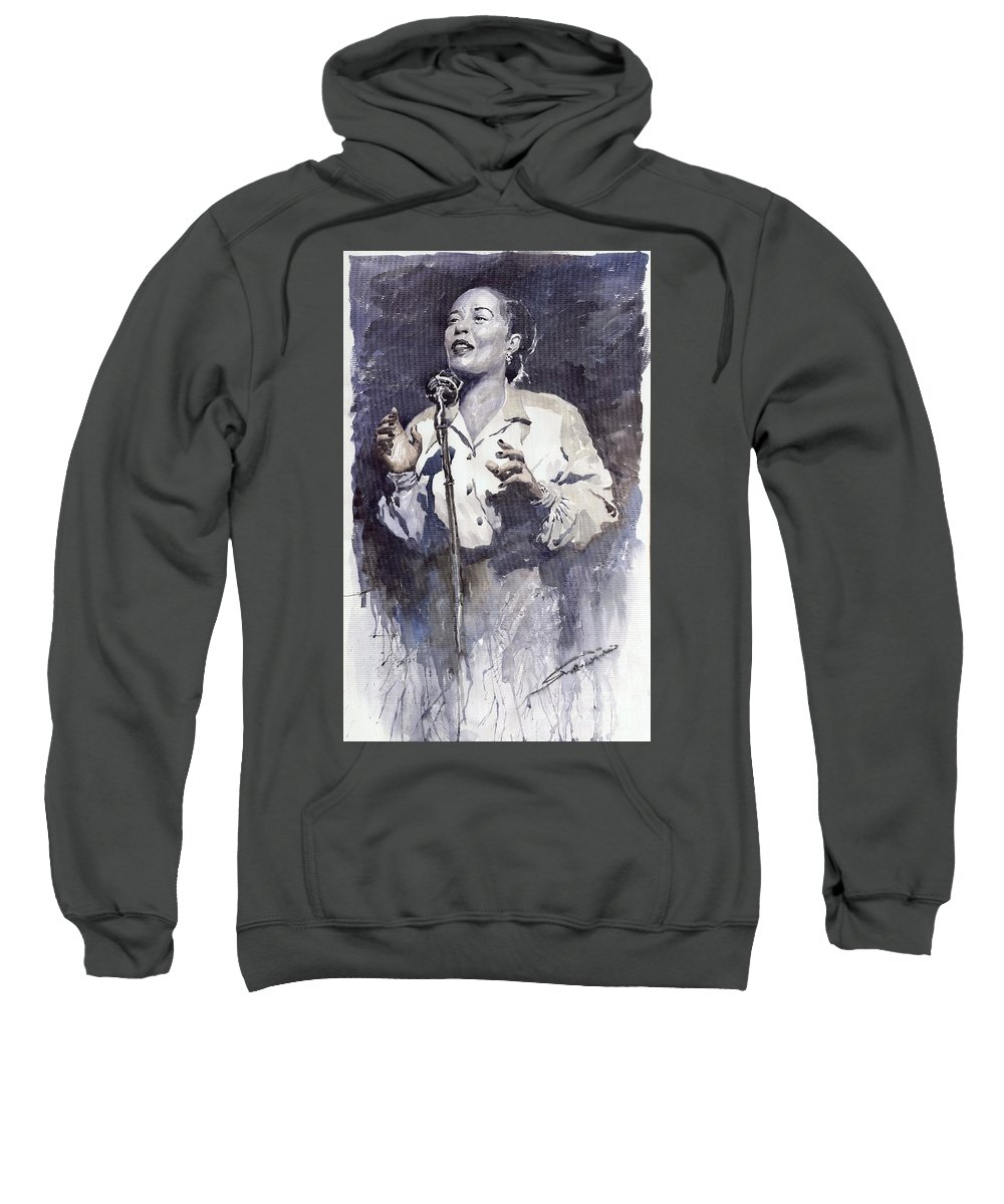Billie Holiday Sweatshirt featuring the painting Jazz Billie Holiday Lady Sings The Blues by Yuriy Shevchuk