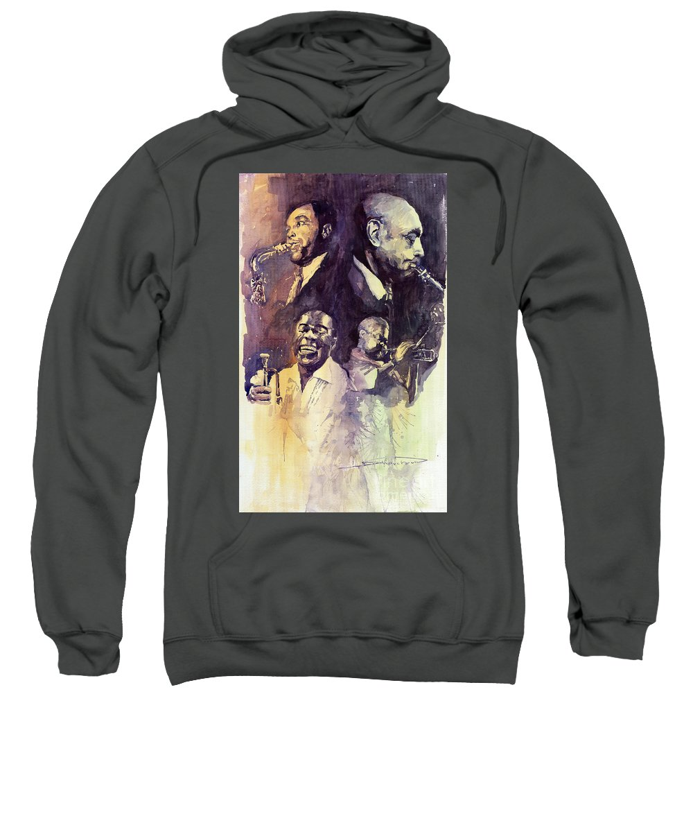 Watercolour Sweatshirt featuring the painting Jazz Legends Parker Gillespie Armstrong by Yuriy Shevchuk