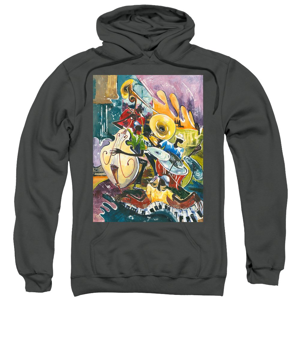 Acrylic Sweatshirt featuring the painting Jazz No. 4 by Elisabeta Hermann