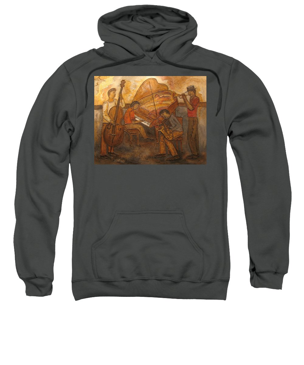Impressionist Sweatshirt featuring the painting Jazz Quartet by Anita Burgermeister