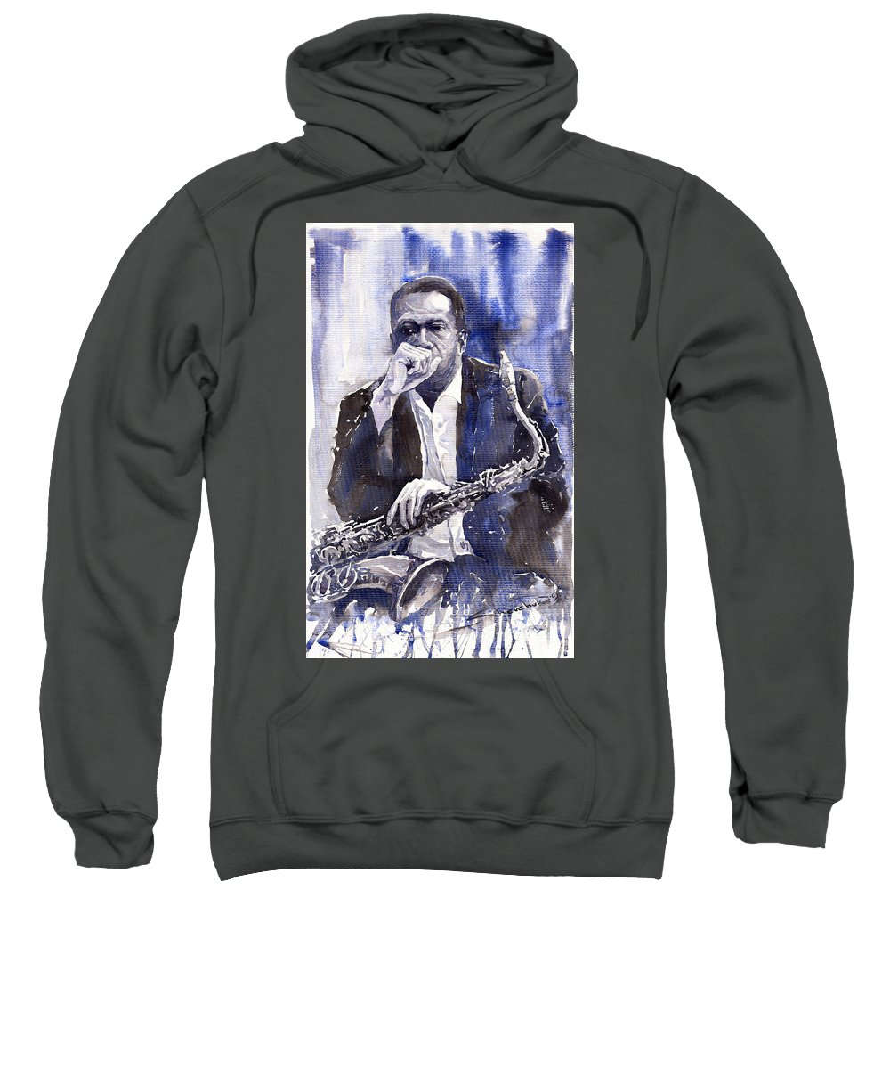 Jazz Sweatshirt featuring the painting Jazz Saxophonist John Coltrane Blue by Yuriy Shevchuk