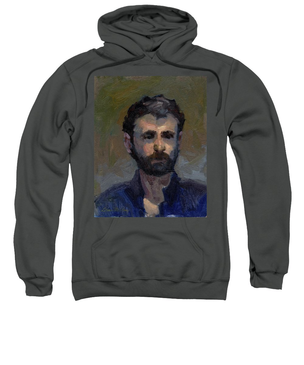 Jeff Sweatshirt featuring the painting Jeff by Diane McClary