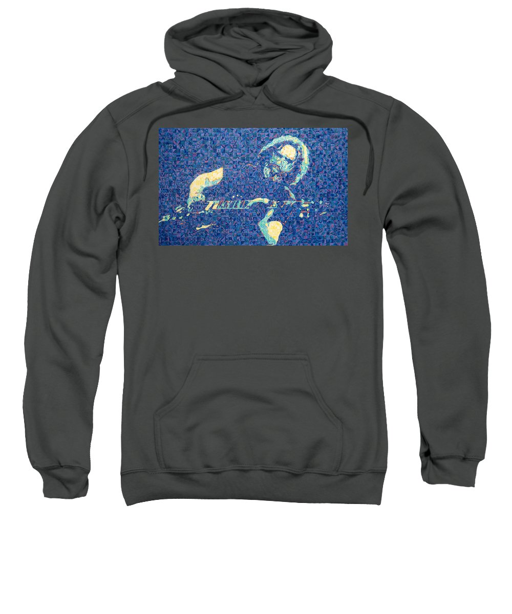 Jerry Garcia Sweatshirt featuring the drawing Jerry Garcia Chuck Close Style by Joshua Morton