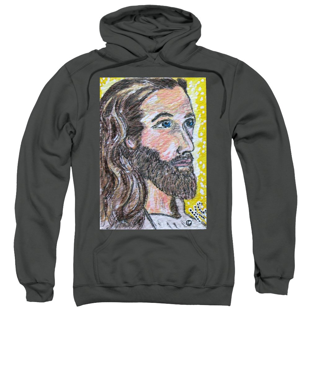 Jesus Christ Sweatshirt featuring the painting Jesus Christ by Kathy Marrs Chandler
