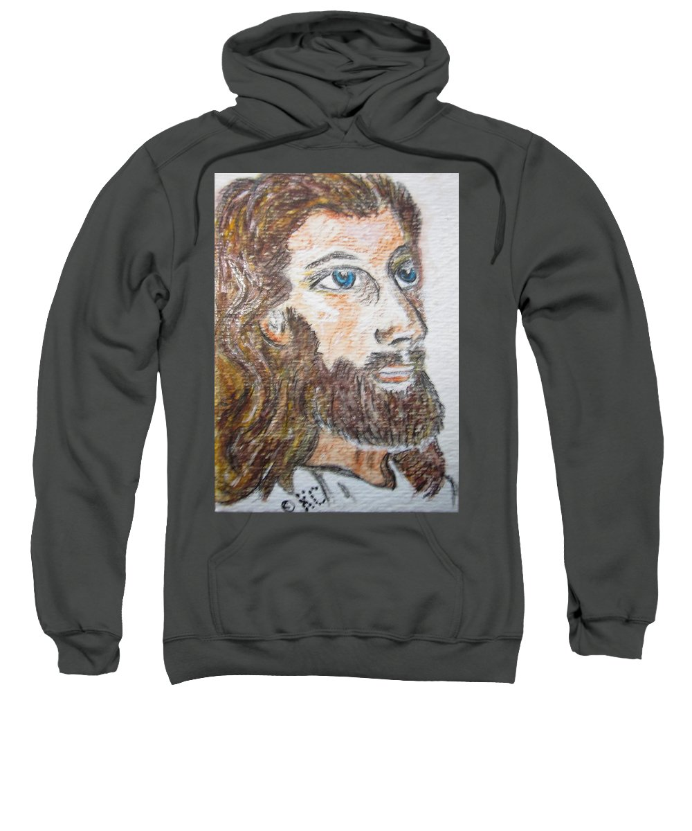Jesus Sweatshirt featuring the painting Jesus Our Saviour by Kathy Marrs Chandler