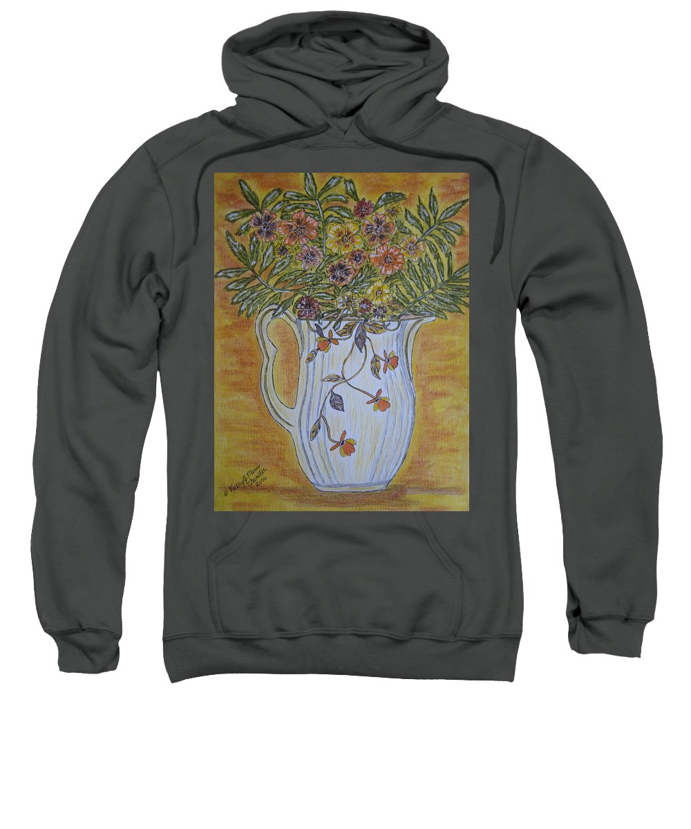 Jewel Tea Sweatshirt featuring the painting Jewel Tea Pitcher With Marigolds by Kathy Marrs Chandler