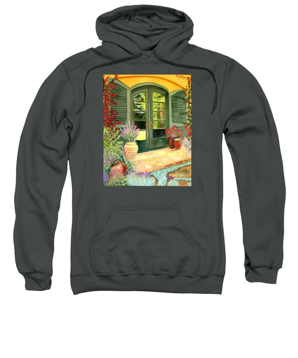 Shutters Sweatshirt featuring the painting Jill's Patio by Laurie Morgan