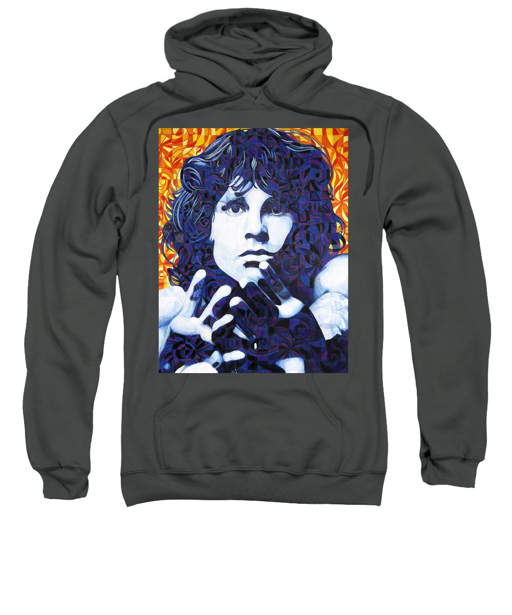 Jim Morrison Sweatshirt featuring the drawing Jim Morrison Chuck Close Style by Joshua Morton