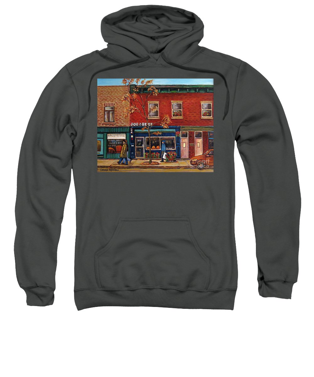 Montreal Sweatshirt featuring the painting Joe Beef Restaurant Montreal by Carole Spandau