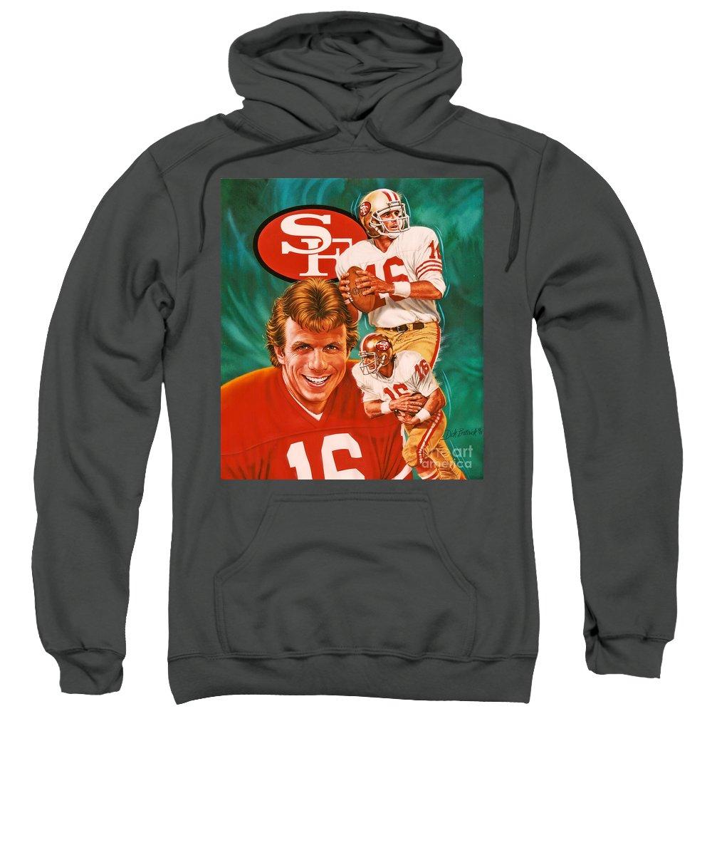 Sports Sweatshirt featuring the photograph Joe Montana by Dick Bobnick