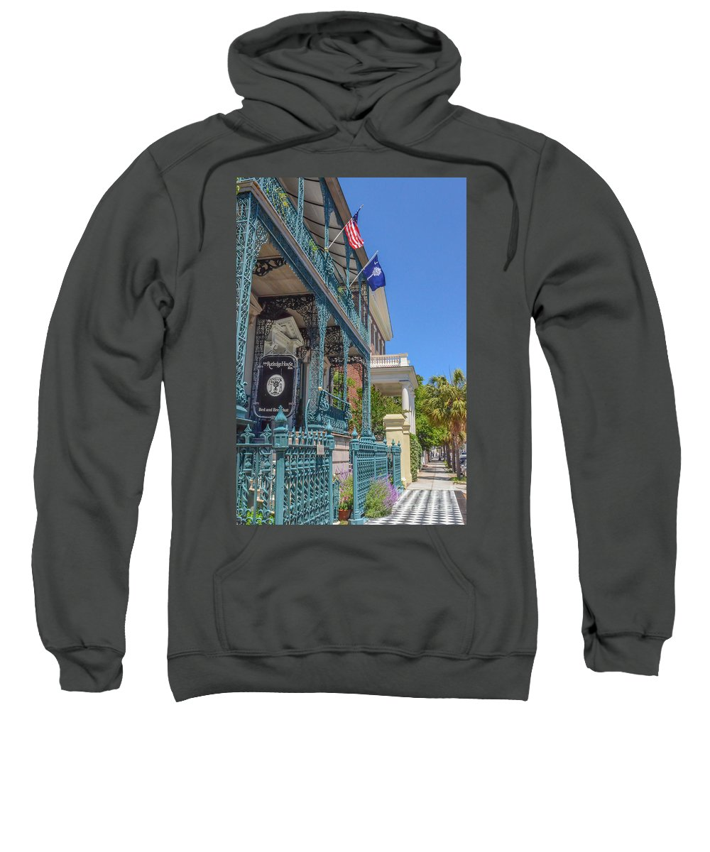 Ornate Fence Sweatshirt featuring the photograph John Rutledge House by Dale Powell