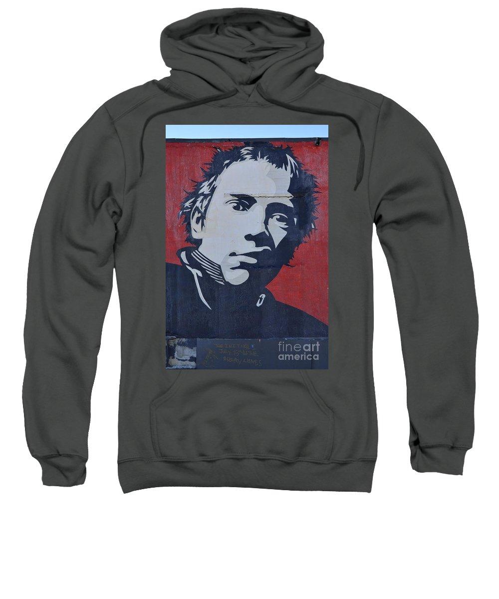 Shepard Fairey Sweatshirt featuring the photograph Johnny Rotten by Allen Beatty