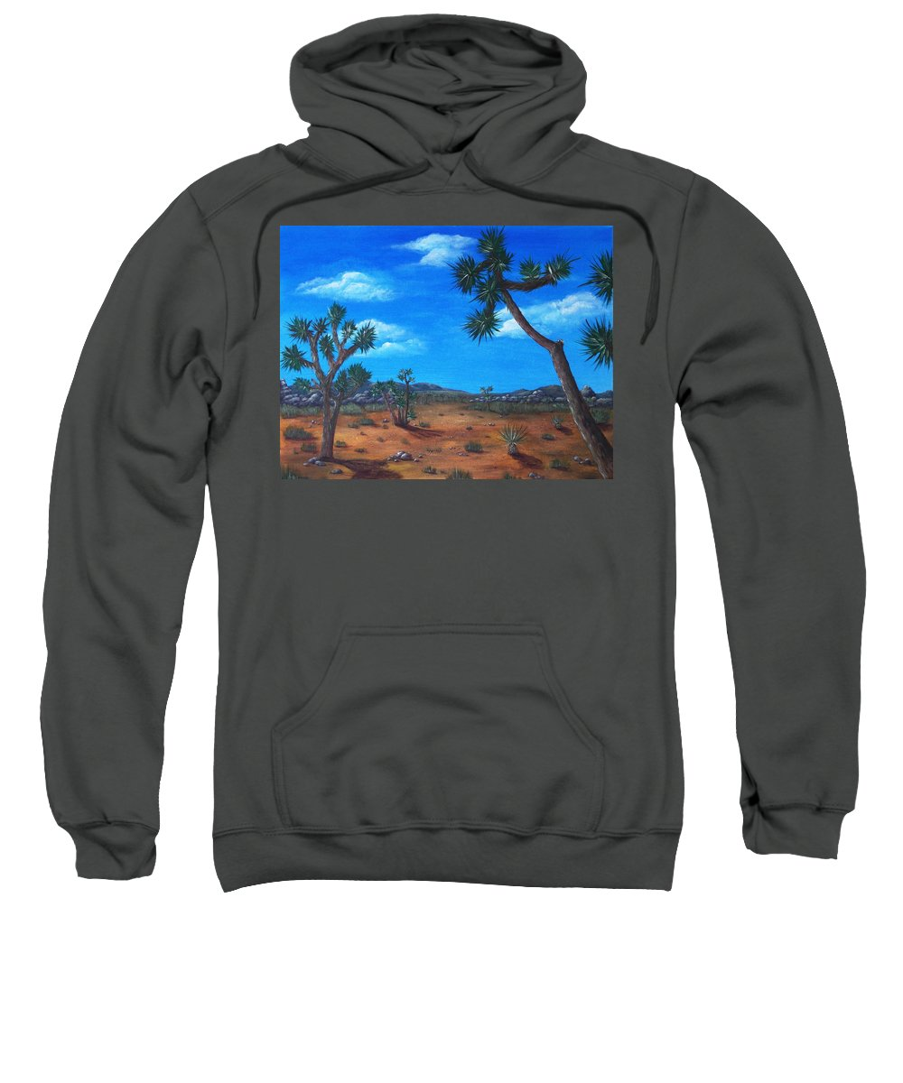 Malakhova Sweatshirt featuring the painting Joshua Tree Desert by Anastasiya Malakhova