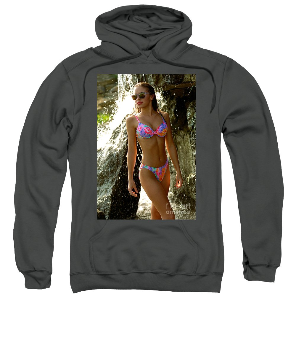Model Sweatshirt featuring the photograph Julie Waterfall by Gary Gingrich Galleries