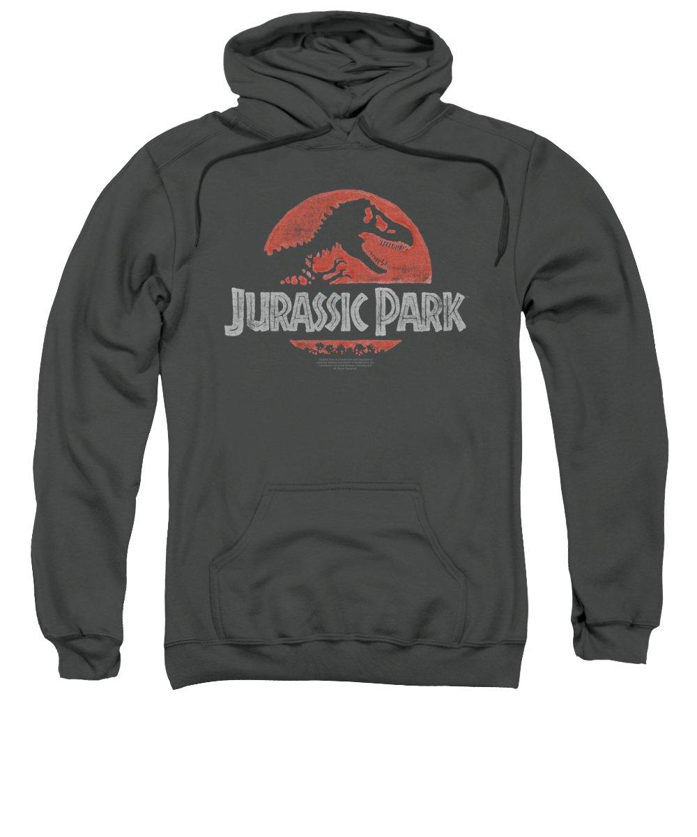 Jurassic Park Sweatshirt featuring the digital art Jurassic Park - Faded Logo by Brand A