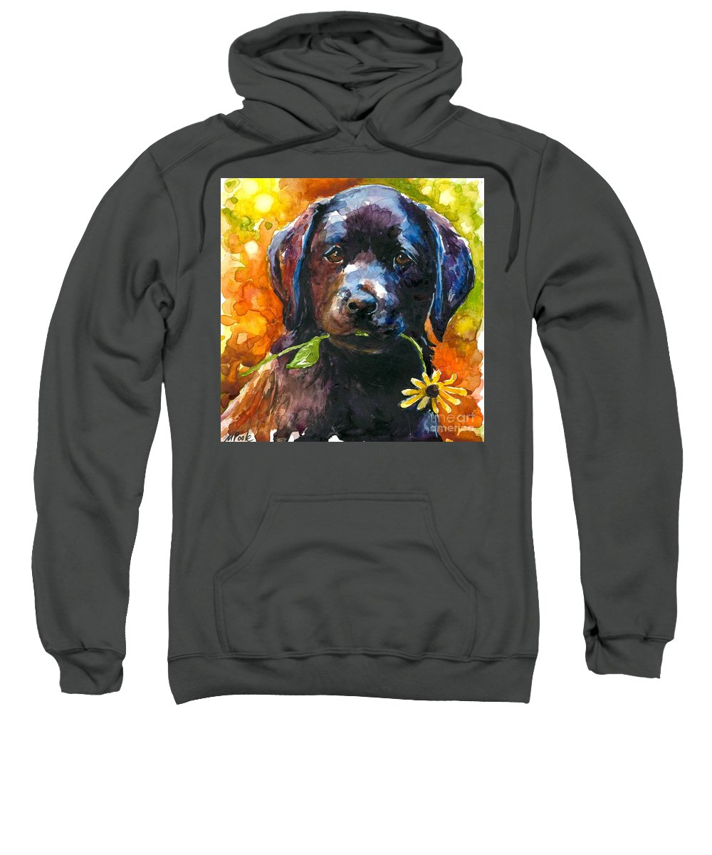 Black Lab Puppy Sweatshirt featuring the painting Just Picked by Molly Poole
