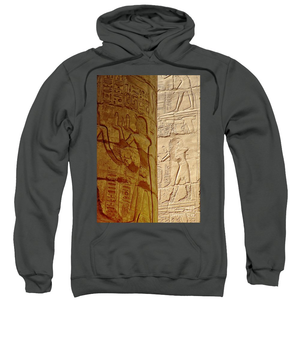 Egypt Sweatshirt featuring the photograph Karnak Temple Detail by Antony McAulay