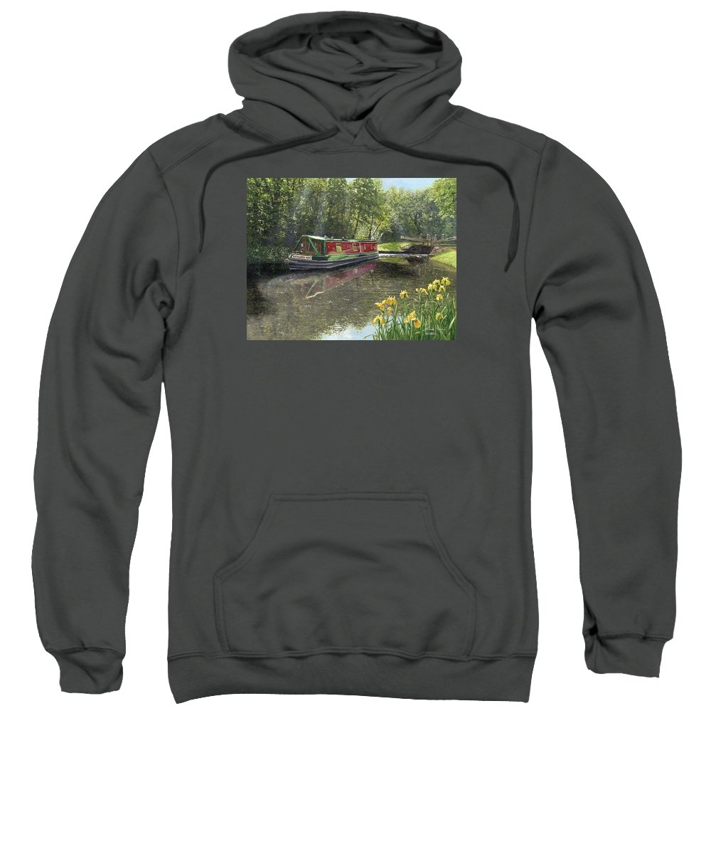 Landscape Sweatshirt featuring the painting Kathleen May Chesterfield Canal Nottinghamshire by Richard Harpum