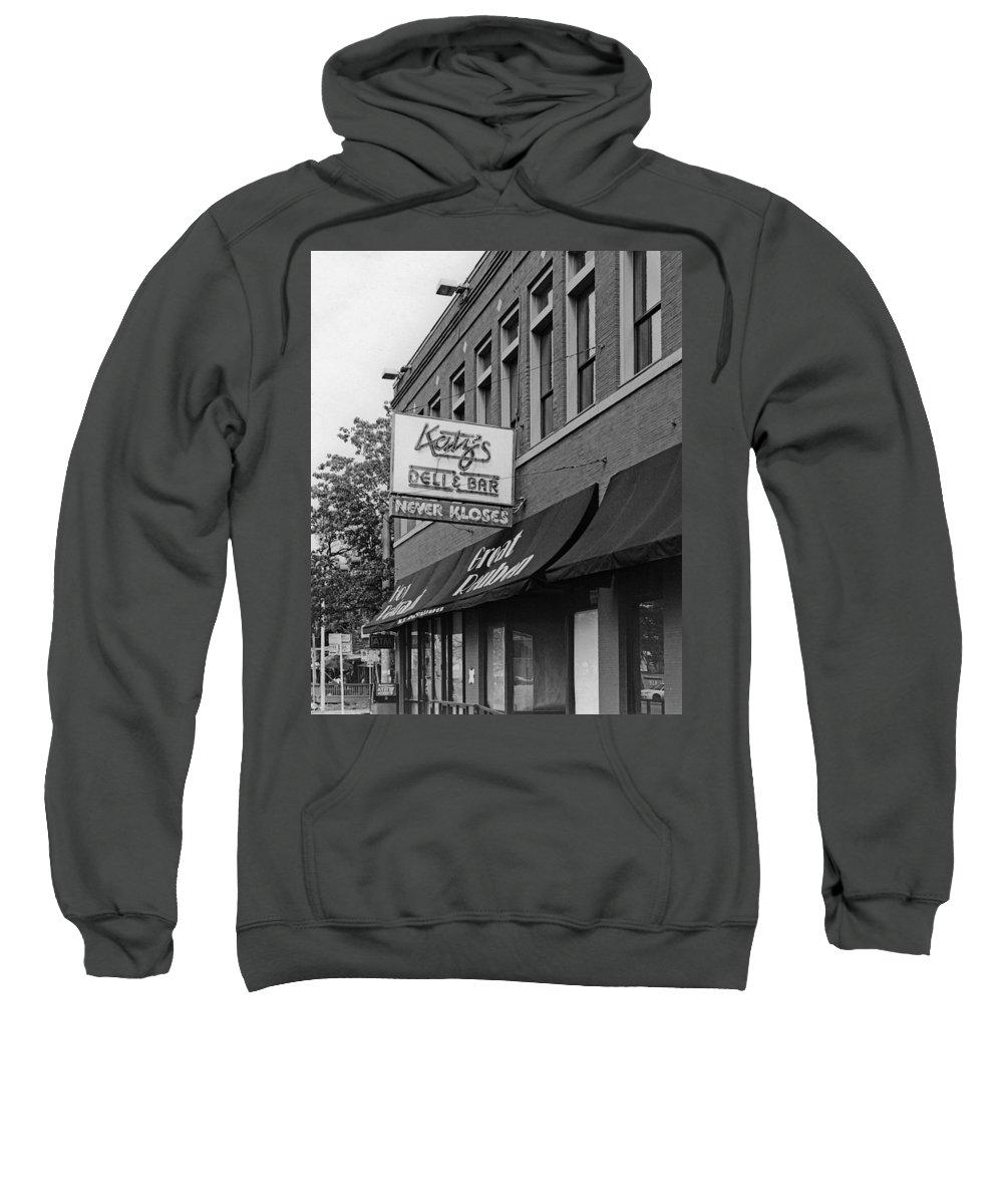 Austin Street Scenes Sweatshirt featuring the photograph Katz's Deli by Jim Smith