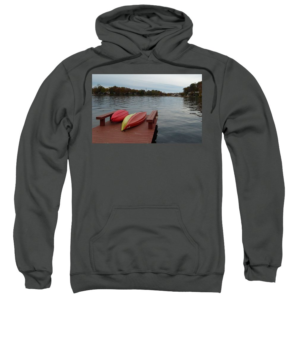 Kayak Sweatshirt featuring the photograph Kayaks By The Lake Nj by Richard Bryce and Family