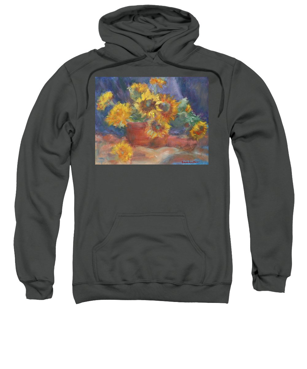 Sunflower Sweatshirt featuring the painting Keep On The Sunny Side - Original Contemporary Impressionist Painting - Sunflower Bouquet by Quin Sweetman