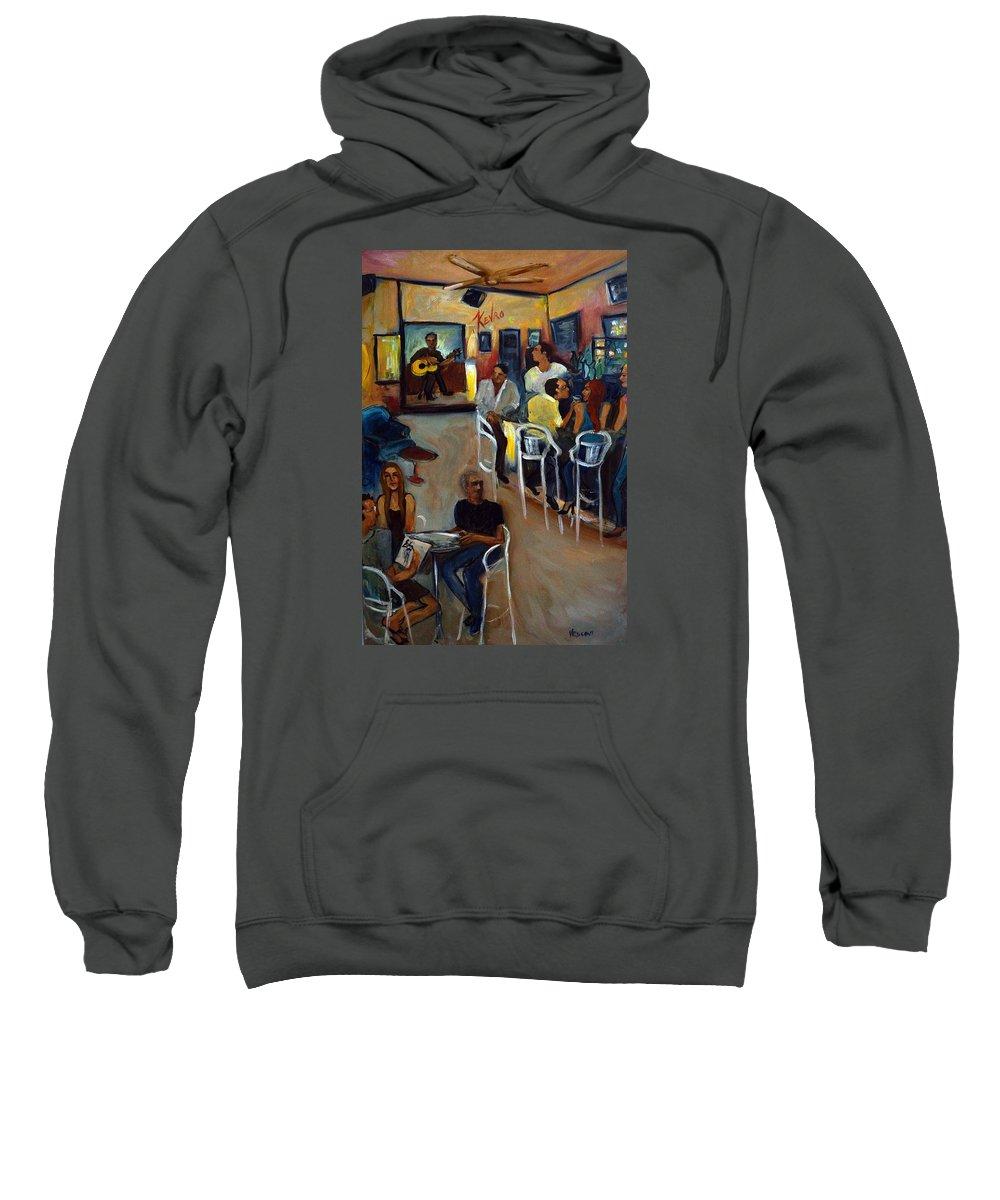 Art Bar Sweatshirt featuring the painting Kevro's Art Bar by Valerie Vescovi