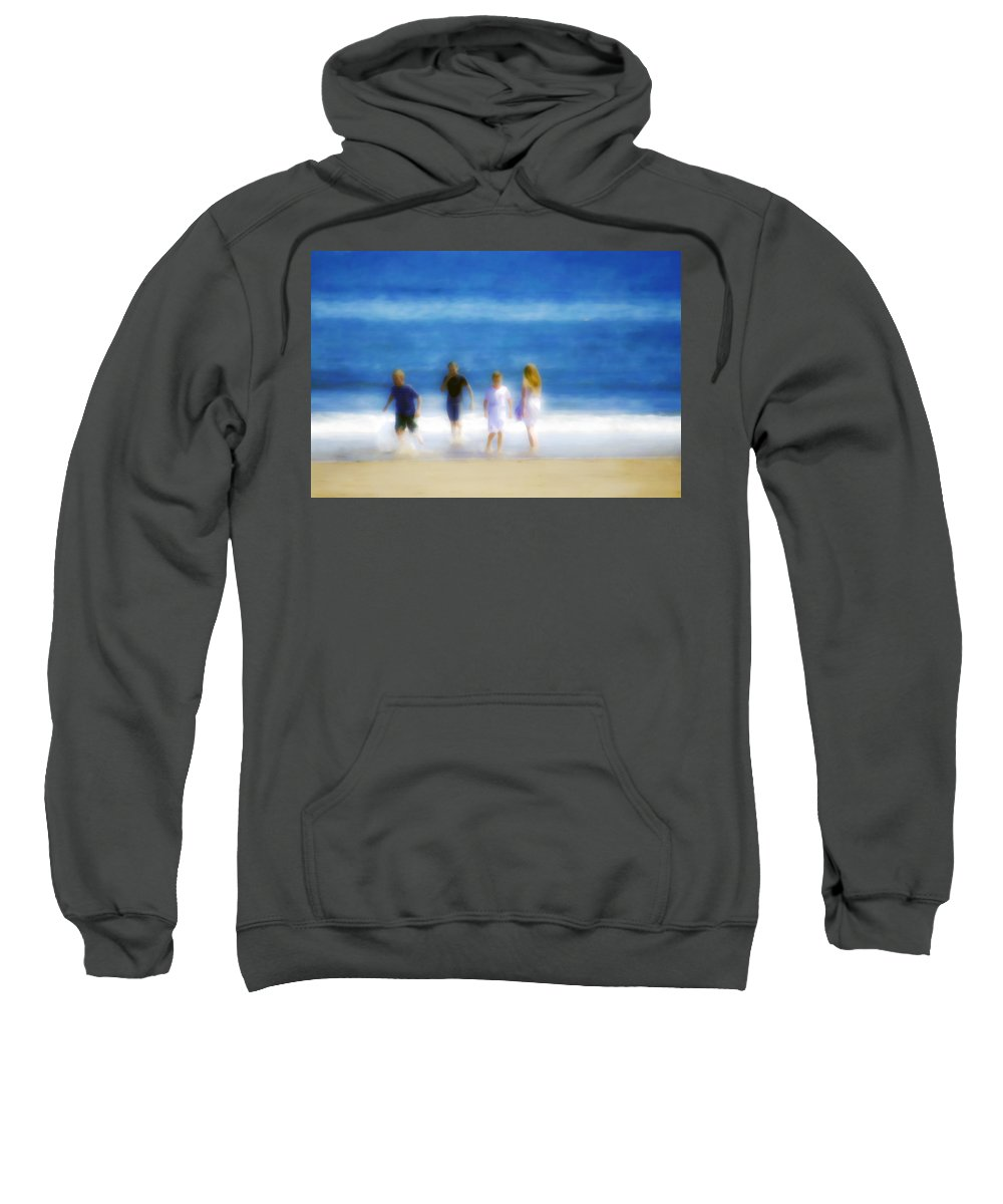 Sea Sweatshirt featuring the photograph Kids At The Beach by Hal Halli