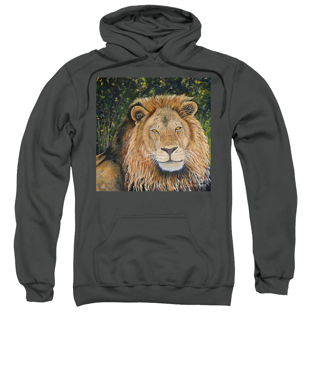 Wildlife Sweatshirt featuring the painting King Of The African Savannah by Caroline Street