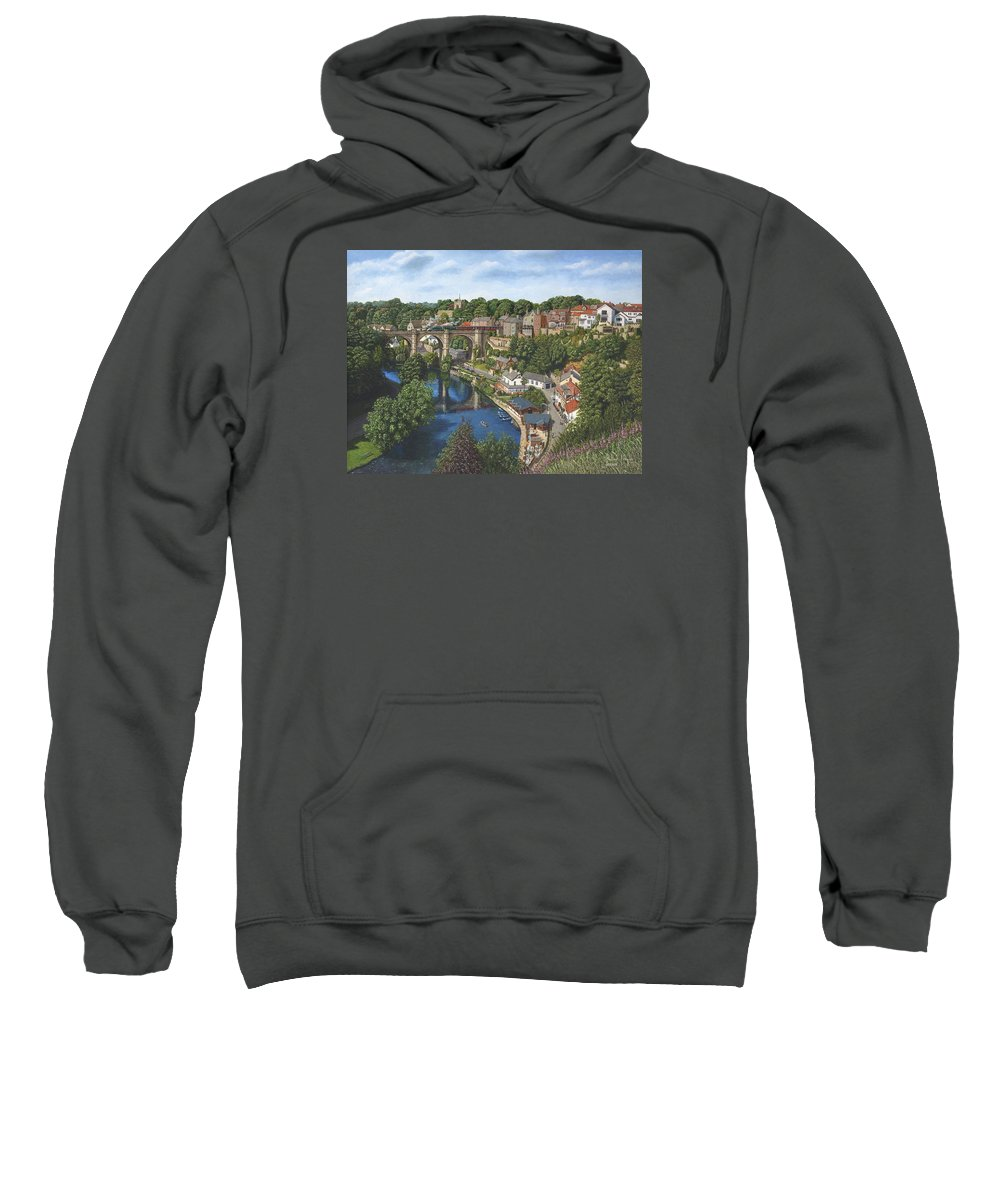 Landscape Sweatshirt featuring the painting Knaresborough Yorkshire by Richard Harpum