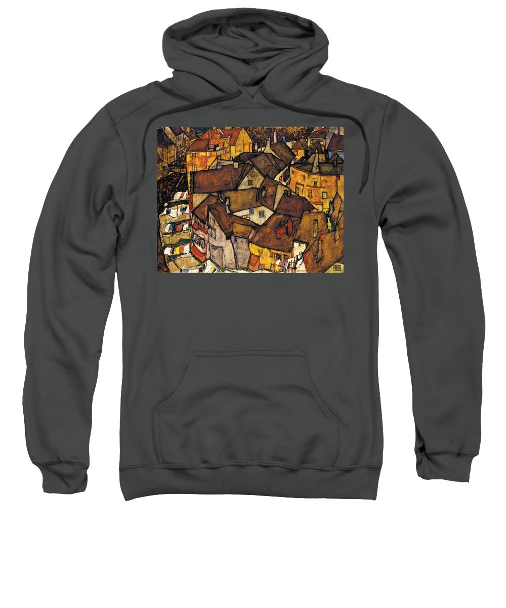 Egon Schiele Sweatshirt featuring the painting Krumau - Crescent Of Houses. The Small City V by Egon Schiele