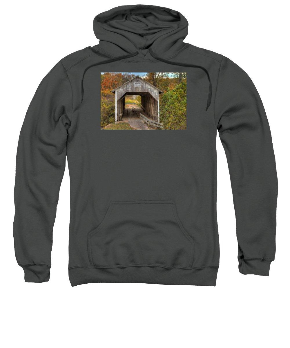 Hillsboro Sweatshirt featuring the photograph Ky Hillsboro Or Grange City Covered Bridge by Jack R Perry