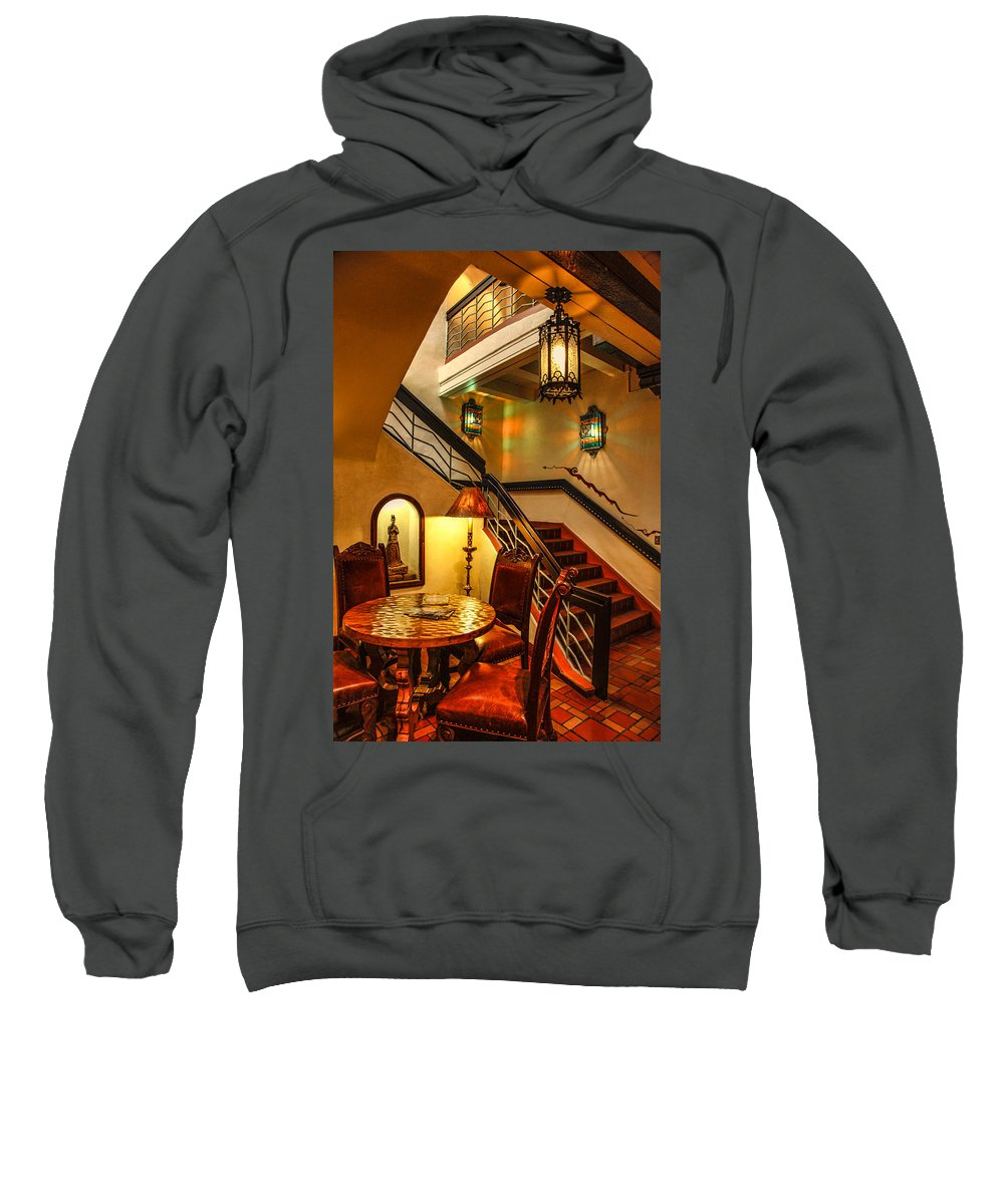 La Fonda Sweatshirt featuring the photograph La Fonda Lanterns by Diana Powell