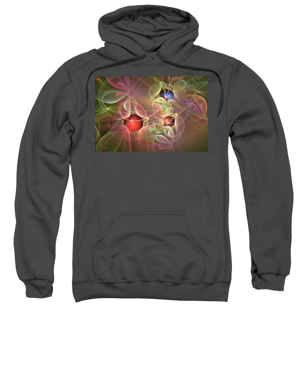 Fractal Sweatshirt featuring the digital art Lace And Pearls by Mary Almond