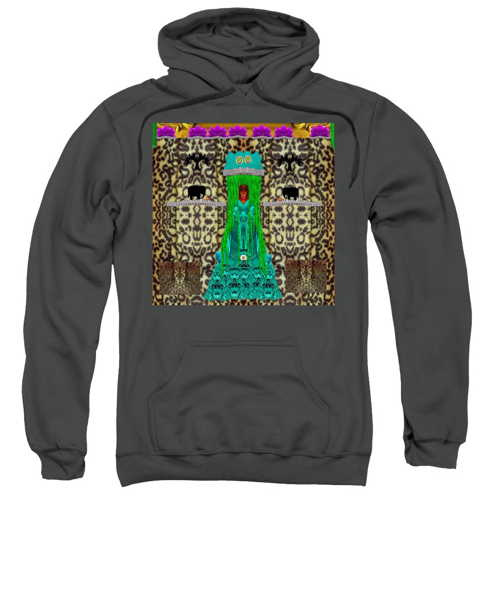 Jungle Sweatshirt featuring the mixed media Lady Bear In The Jungle by Pepita Selles