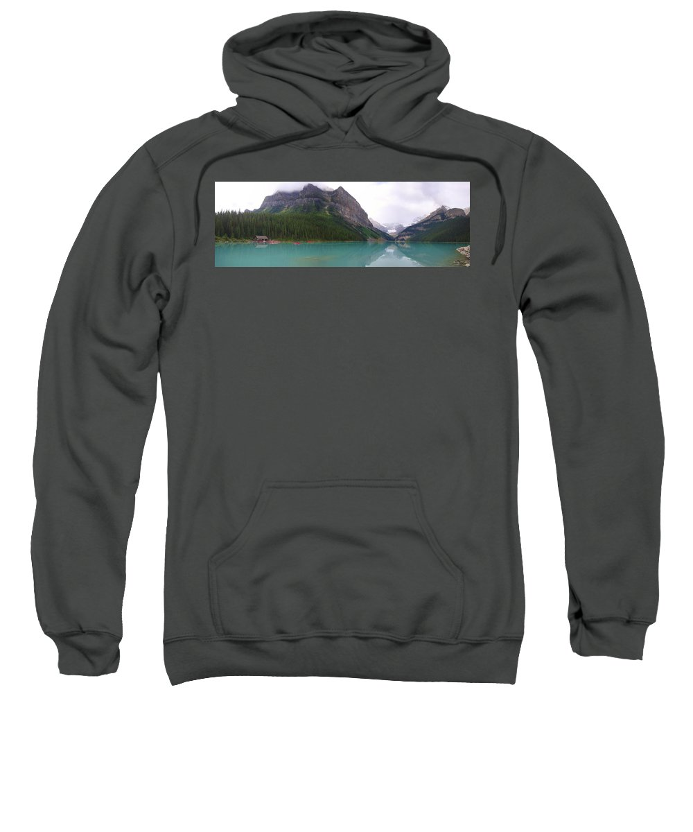 Lake Louise Sweatshirt featuring the photograph Panoramic Lake Louise, Alberta - Morning Reflections by Ian Mcadie