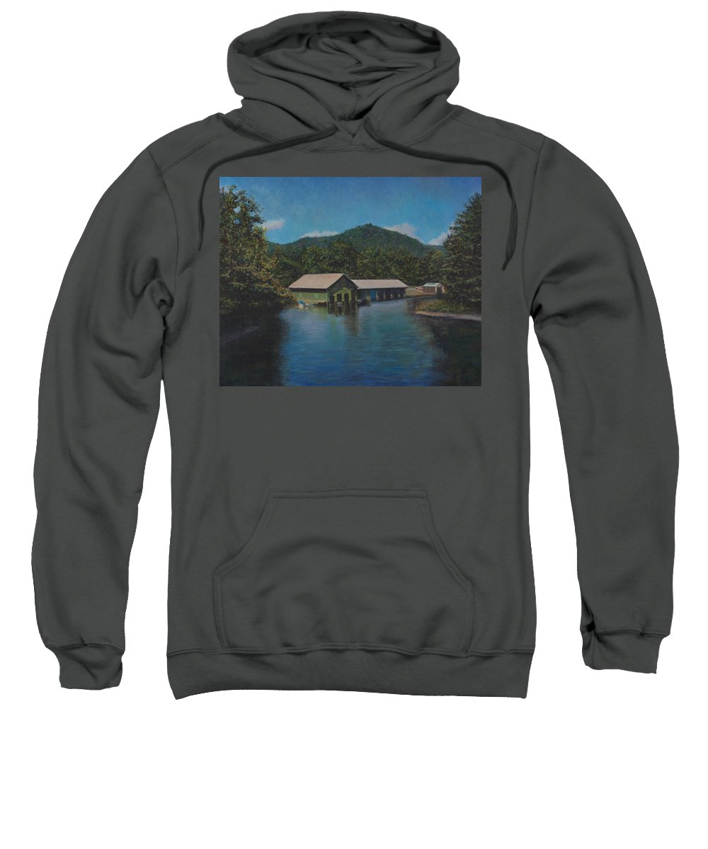 Lake Squam Sweatshirt featuring the painting Lake Squam Off Rte. 3 In Holderness Nh by David P Zippi