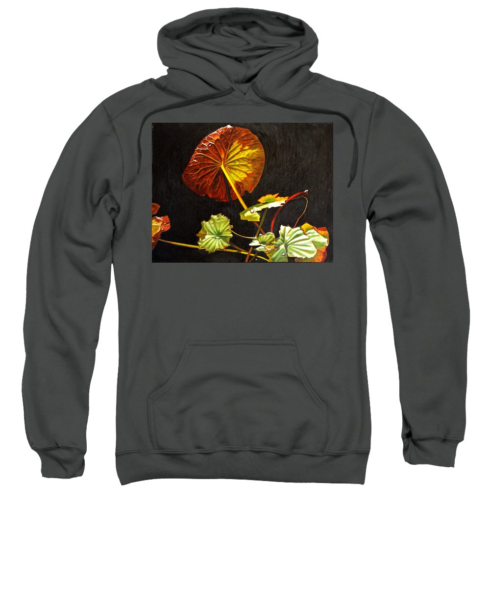 Lily Pad Sweatshirt featuring the painting Lake Washington Lily Pad 18 by Thu Nguyen
