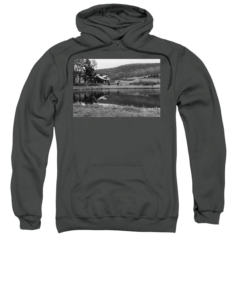 Canon Sweatshirt featuring the photograph Lakeside Cabin by Nicholas Pappagallo Jr