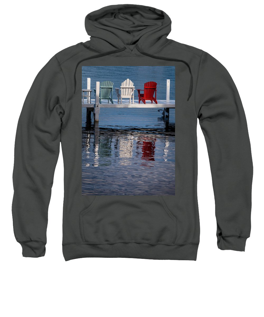 Chair Sweatshirt featuring the photograph Lakeside Living Number 2 by Steve Gadomski