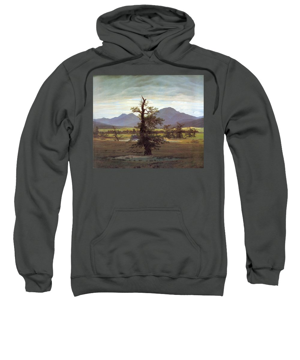 Landscape Sweatshirt featuring the painting Landscape With Solitary Tree by Caspar David Friedrich