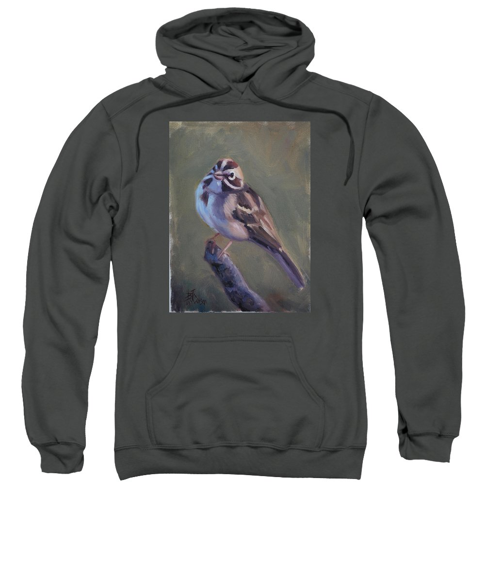 Birds Sweatshirt featuring the painting Lark Sparrow by Billie Colson