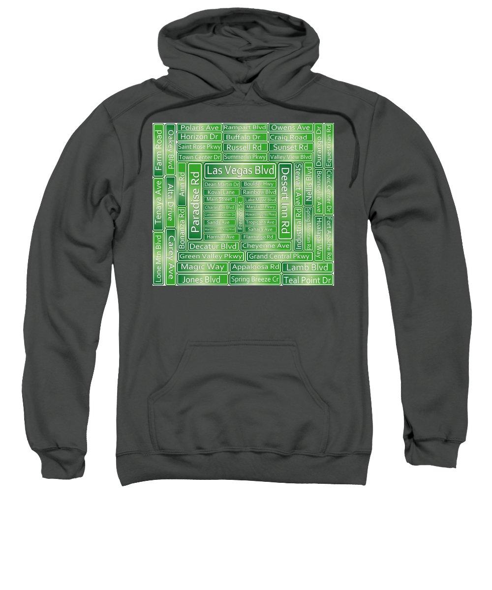 Las Vegas Blvd Sweatshirt featuring the digital art Las Vegas Street Road Signs by Gravityx9 Designs