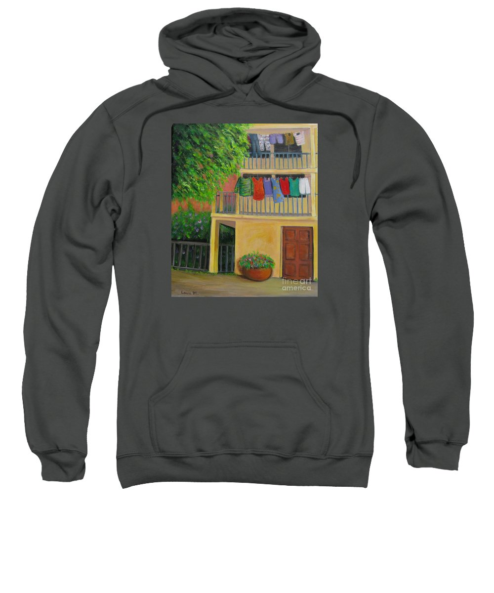 Laundry Sweatshirt featuring the painting Laundry Day by Laurie Morgan