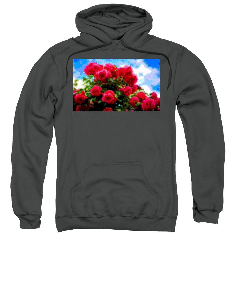 Flower-art Sweatshirt featuring the digital art Layer Art Flower Roses by Mary Clanahan