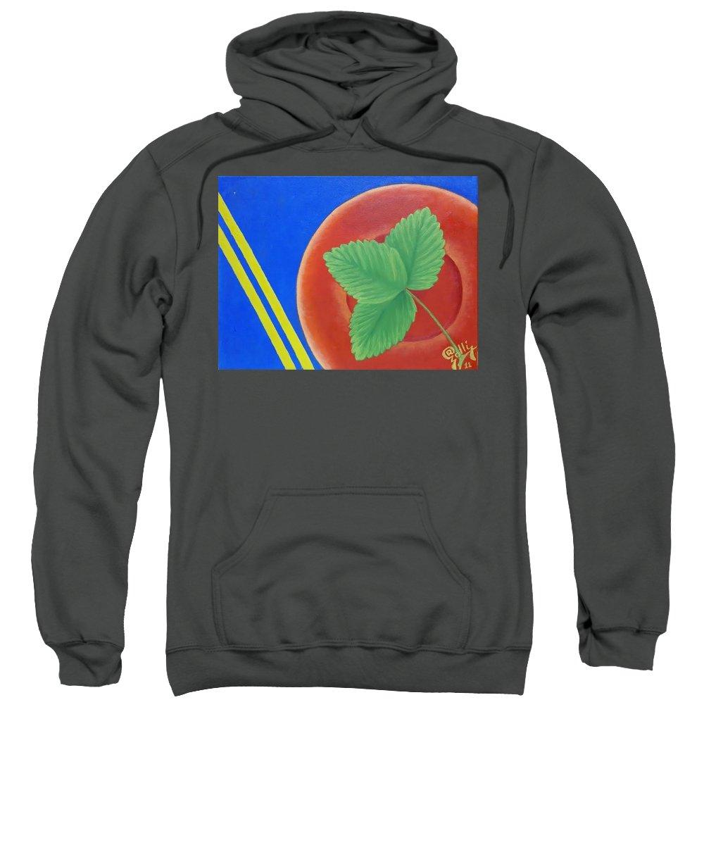 Leaf . Strawberries Sweatshirt featuring the painting Leaf by Ramadan Agolli