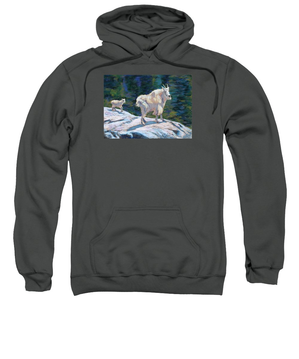Mountain Goats Sweatshirt featuring the painting Learning To Walk On The Edge by Mary Benke